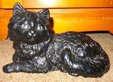 Black Cast Iron Cat Figurine Kitten Door Stop Halloween Decoration Long Hair
