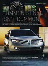 2012 Lincoln MKZ Hybrid - Original Advertisement Print Art Car Ad J896