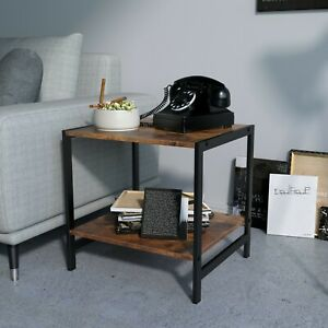 Dual Tier Coffee & Tea Small Square End Table for Living Room and Office, Retro