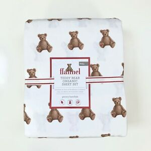 New  Pottery barn kids Organic Flannel Teddy Bear Full sheet set brown