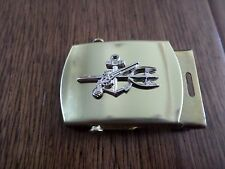 U.S MILITARY NAVY UDT SILVER INSIGNIA SOLID BRASS BELT BUCKLE MADE IN THE U.S.A