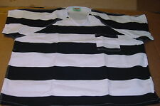 Bob Barker Prison Jail Convict Shirt Black & White Stripe heavy duty sz. LARGE L