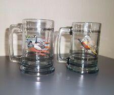 Princess House 2 Glass Colonial Beer MUGS ~ Geese & Pheasant ~ 15 oz w palladium