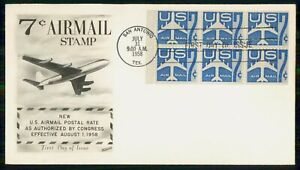 Mayfairstamps US FDC 1958 7cents Air Mail Plane Block Blue First Day Cover wwk_6