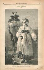 Parrain Marraine au Tyrol Tableau de Gustave Jundt Dessin Pauquet GRAVURE 1869