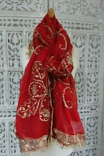 Vintage red chiffon wedding shawl with gota work – preloved SKU15958