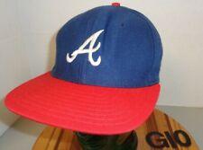VINTAGE ATLANTA BRAVES BASEBALL HAT BLUE/RED SNAPBACK USA MADE VGC G10