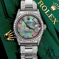 Women's 31mm Rolex SS Datejust Custom Black MOP Color Dial Diamond Oyster Band