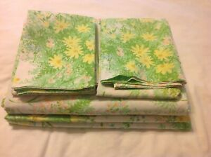 Vintage Springmaid Wondercale Green Yellow  Floral Twin Flat Sheet Set 4 Pieces