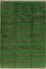 Little Character/Animal Tribal Gabbeh Hand-Knotted Area Rug Green Carpet 5'x8'