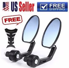 "Black Aluminum Oval 7/8"" Handle Bar End Mini Motorcycle Mirrors For Honda Harley"