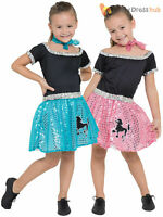 Girls Rock n Roll Sequin Costume Childs 50s 60s Poodle Fancy Dress Kids Outfit