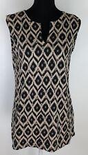Jones New York Signature Womens Large Knit Top Ikat Sleeveless Career Split Neck