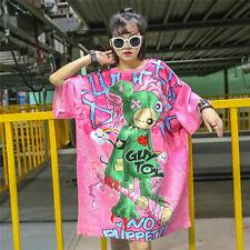 Harajuku Gothic Sweet Lolita Cute Bear Loose Oversize Short Sleeve Dress Cool #E