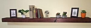 "Floating Shelf Fireplace Mantel Aged Mahogany Rustic Barn Beam Look 48"" shelves"