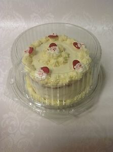 """5 x CLEAR DISPOSABLE CAKE DOMES / presentation gift box packaging - for 6"""" cake"""