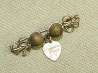 Vintage ANTQ Brass Wire Wood Bead Dangle Heart Niagara Falls Souvenir Pin Brooch
