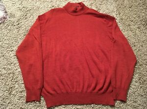 Mens Grant Thomas Orange Italian Merino Wool Light Crewneck Sweater, Size L