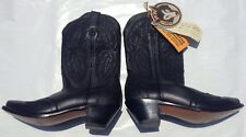 Road Wolf Black Embroidered Leather Cowboy Boots Size 9 Men's NWT