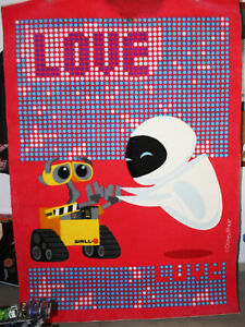 VERY RARE WALL-E & EVE BIG KIDS FLOOR CARPET RUG DISNEY PIXAR UNUSED WITH FAULTS