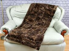 REAL RABBITS SHEARED PELTS THROW BLANKET dyed LEOPARD PATTERN 156cm X 62cm, ST1