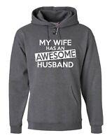 AWESOME HUSBAND HOODIE FUNNY GIFT MENS JOKE SLOGAN WIFE NOVELTY HOODY HOOD TOP