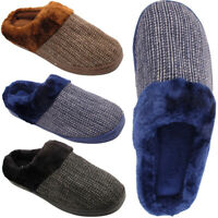 MENS WARM WINTER FUR LINED KNITTED LUXURY SLIP ON SLIPPERS SHOES SIZES UK 6-11