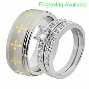 His & Hers Wedding Rings Sets Stainless Steel Princess CZ Tungsten Men Band GM
