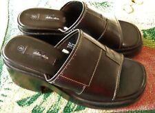 Women's Black Chunky Heel Vintage 90's Platform Slides Shoes size 9