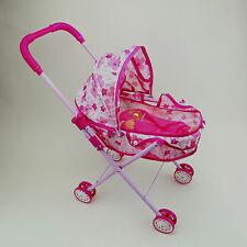 Little Girls Toy Sound Baby Doll Stroller Set Foldable Pink 4 Wheels Carriage