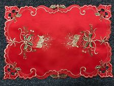 Red Christmas Embroidered Candle Bell Poinsettia Embroidery Placemat Runner Mat