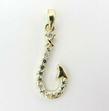 10k Yellow Gold Solid Cubic Zirconia Fishing Hook Pendant Charm