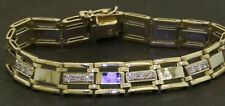 Heavy 14K 2-tone gold high fashion 1.89CTW diamond men's link bracelet