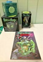 Rick and Morty LOT - 16 oz Pint Glass, Meeseeks Box Bank, D&D Graphic Novel