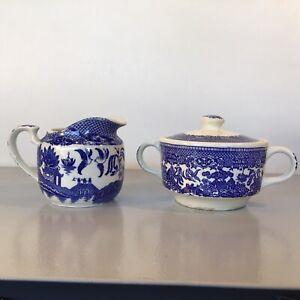 Creamer & Sugar Bowl W/ Lid Blue & White