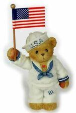 CHERISHED TEDDIES 2002 FIGURINE, USA EXCLUSIVE, JOEL, SAILOR, FLAG, 107070, NIB