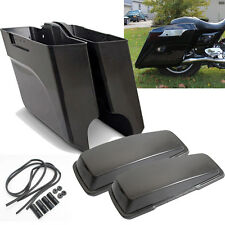 """Unpainted 5"""" Extended Saddlebags Angle Bottom W/ Lids For Touring Bagger 93-13"""