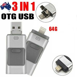 3 IN 1 64GB USB Flash Drive Disk Storage Memory Stick For iPhone PC IOS Android