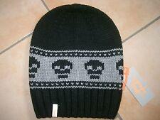 (M41) Grobstrick Mütze FREAKY HEADS Beanie Wintermütze Totenkopf + Logo Aufnäher