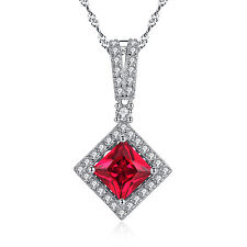 925 Solid Sterling Silver 2.4 CT Princess Cut Ruby Gemstone Pendant Necklace 18""