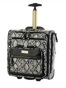 Samantha Brown Embossed Rolling Carry-It-All Bag Snake Print ~White/Black