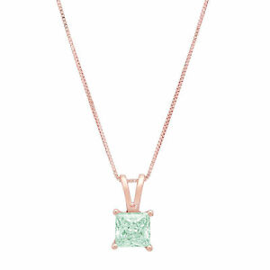 """1 ct Princess Turquoise Green Solitaire Pendant Necklace 16"""" Chain 14k Rose gold"""