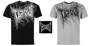 TAPOUT Mens Sport Top T-Shirt GYM MMA 100% Cotton BLACK GREY S M L XL XXL Tshirt