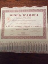 Mines D'Aouli Dated 1926 Shares Invalid Share Certificate