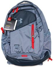New Under Armour Storm UA Hustle 4.0 Water-Repellant Grey & Red Backpack
