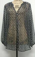 NWT ZOA New York Luna sheer front button v neck  top blouse size s Black /white