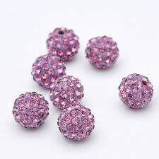 6-12MM  Czech Crystal Rhinestones Pave Clay Round Disco Ball Spacer Beads 100PCS