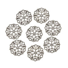 100 x Tibetan Style Filigree Joiners Flower Links Antique Silver 29x1mm Hole 2mm