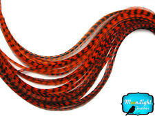 1 Piece - ORANGE Thin Long Grizzly Rooster Hair Extension Feather & Silicon Bead