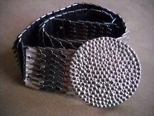Vintage Silver Metal Stretch Belt Snake Skin Fish Scales Round Buckle